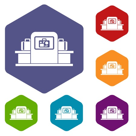 scanner: Airport baggage scanner icons set