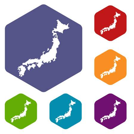 Map of Japan icons set