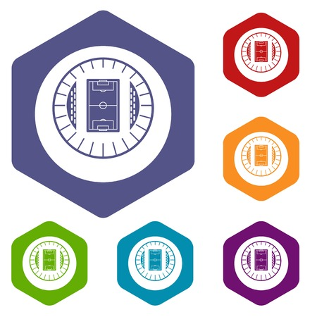 real tennis: Round stadium top view icons set