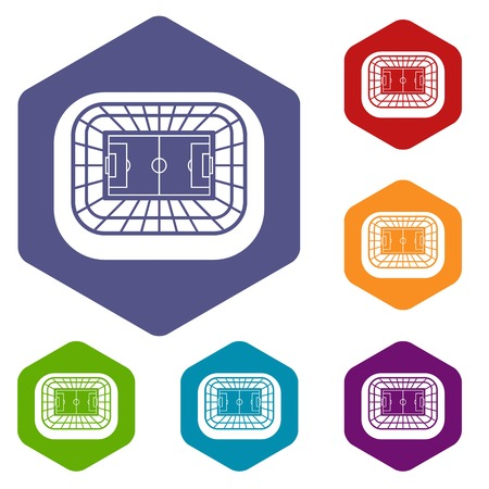 real tennis: Stadium top view icons set