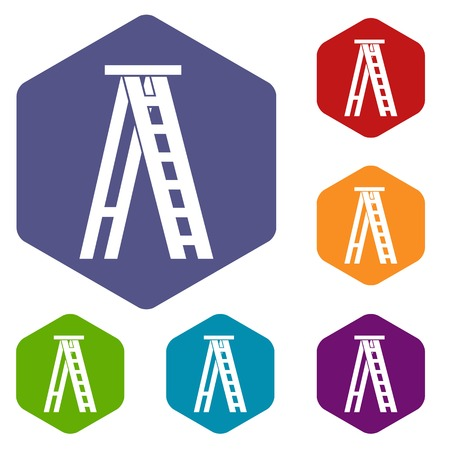 clambering: Stepladder icons set
