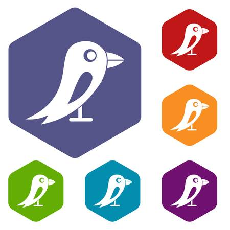 Social network bird icons set Illustration