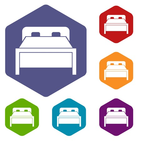 headboard: Double bed icons set Illustration
