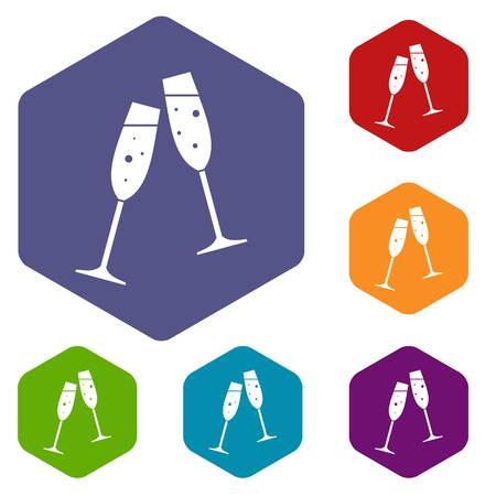 vitreous: Two glasses of champagne icons set