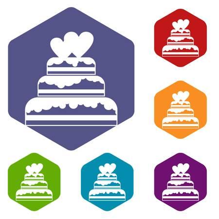 wedding cake: Wedding cake icons set