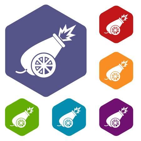 wheel guard: Circus cannon icons set