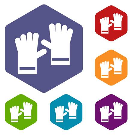 rubber gloves: Rubber gloves icons set