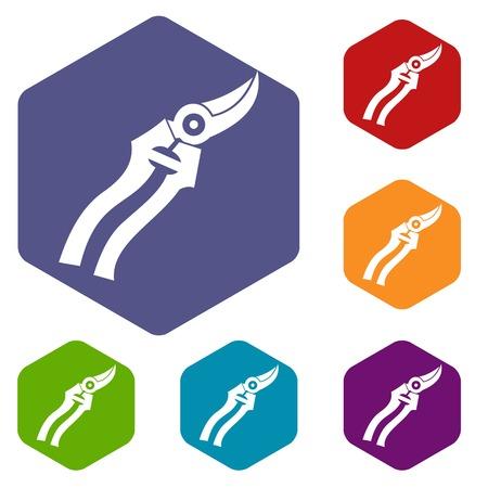 Garden shears icons set