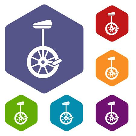 balancing act: Unicycle icons set Illustration