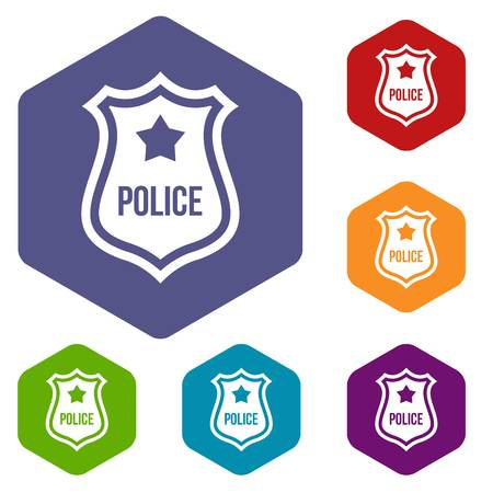 sergeant: Police badge icons set