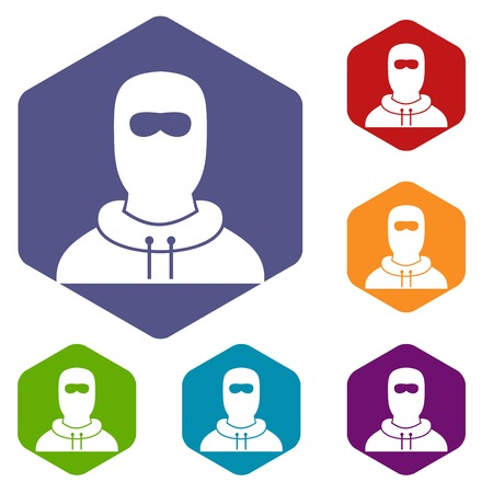 lawbreaker: Man in balaclava icons set