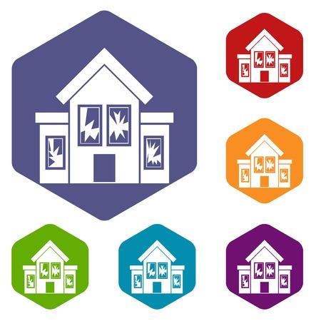broken house: House with broken windows icons set