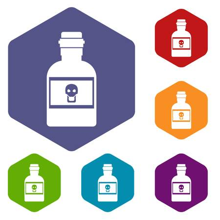 poison: Poison bottle icons set