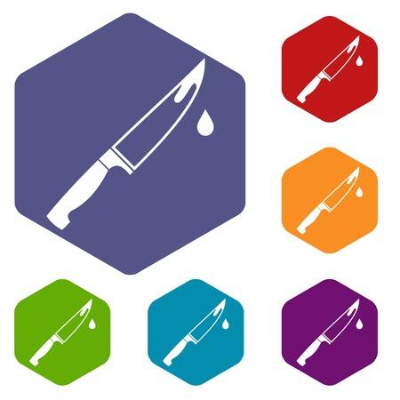 Steel knife icons set Иллюстрация