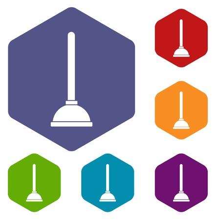 plumb: Toilet plunger icons set