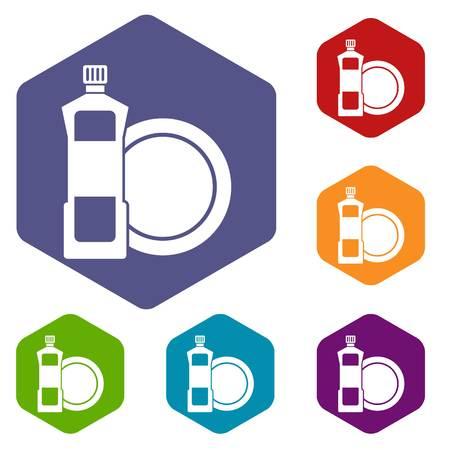 lavar platos: Dishwashing liquid detergent and dish icons set
