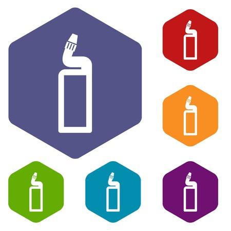 drain: Plastic bottle of drain cleaner icons set