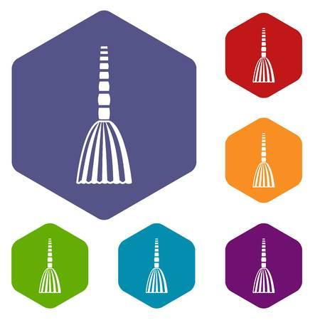 wicked set: Broom floor icons set Illustration