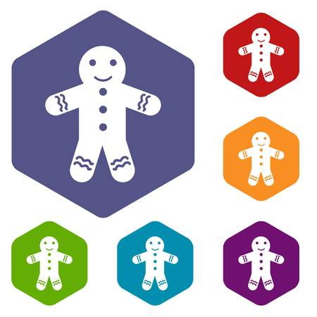 christmas cake: Gingerbread man icons set Illustration