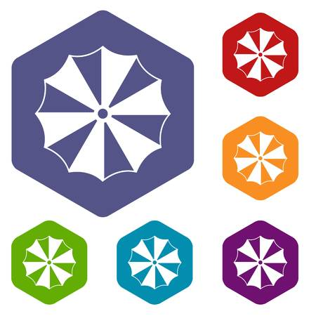 Striped umbrella icons set Иллюстрация