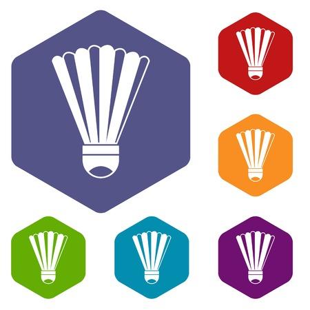 Shuttlecock icons set