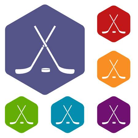 puck: Crossed hockey sticks and puck icons set