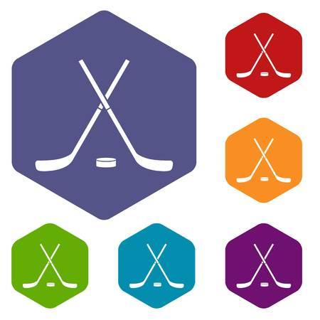 Crossed hockey sticks and puck icons set
