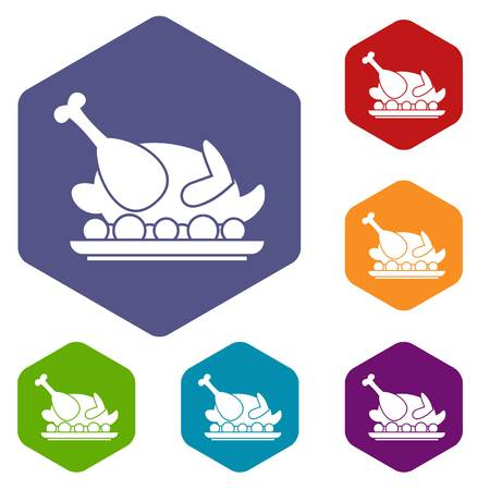 whole chicken: Roasted turkey icons set