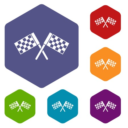 dragster: Crossed chequered flags icons set