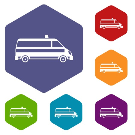 disaster relief: Ambulance car icons set