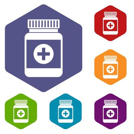 bottle of medicine: Medicine bottle icons set