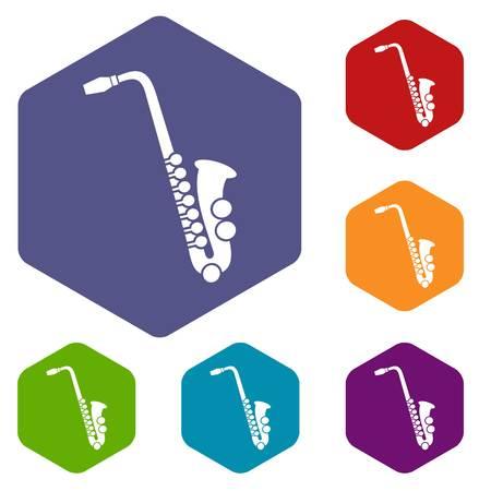 Saxophone icons set