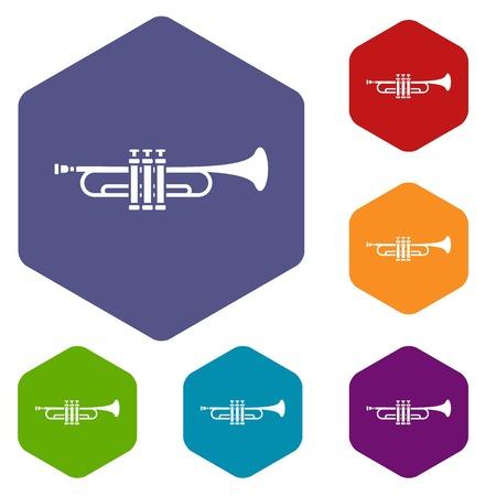 blare: Brass trumpet icons set