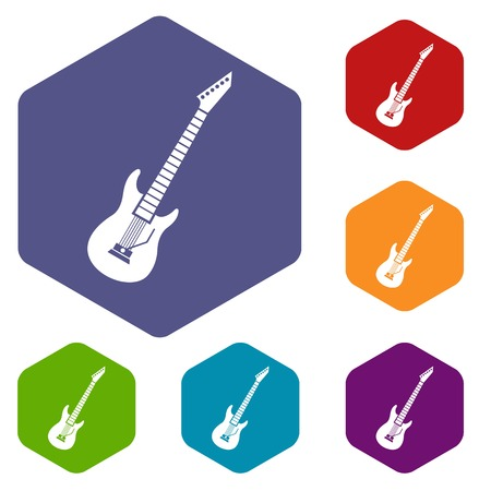Electric guitar icons set