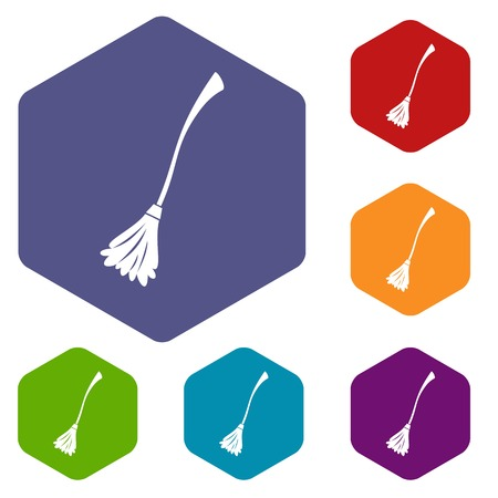 whisk broom: Witches broom icons set Illustration