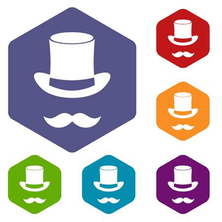 conjuring: Magic black hat and mustache icons set
