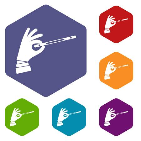 Magician hand with a magic wand icons set