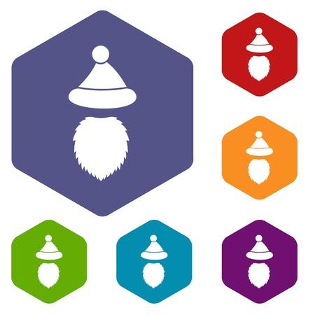 Santa Claus hat and beard icons set