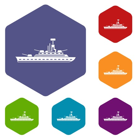 navy pier: Military warship icons set rhombus in different colors isolated on white background Illustration