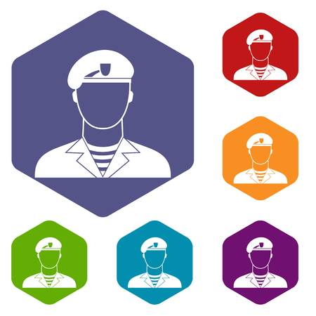 Modern army soldier icons set rhombus in different colors isolated on white background Illustration