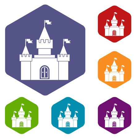 citadel: Fortress icons set rhombus in different colors isolated on white background