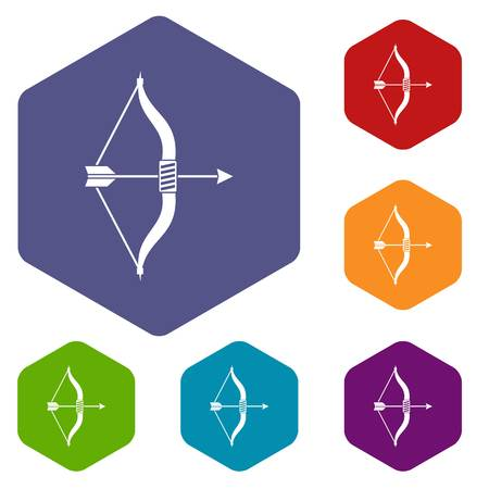 Bow and arrow icons set rhombus in different colors isolated on white background Illustration