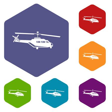 chinook: Military helicopter icons set rhombus in different colors isolated on white background Illustration