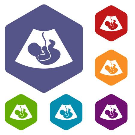 firstborn: Ultrasound fetus icons set rhombus in different colors isolated on white background Illustration