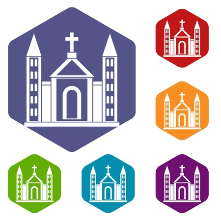 congregation: Christian catholic church building icons set rhombus in different colors isolated on white background
