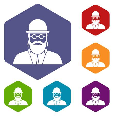 israel people: Orthodox jew icons set rhombus in different colors isolated on white background