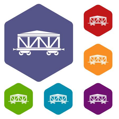 goods station: Train cargo wagon icons set rhombus in different colors isolated on white background