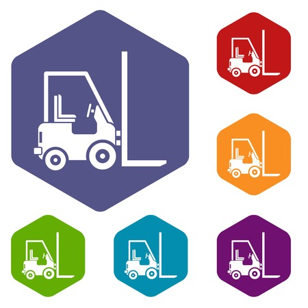 Stacker loader icons set rhombus in different colors isolated on white background