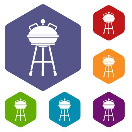 Kettle barbecue icons set rhombus in different colors isolated on white background