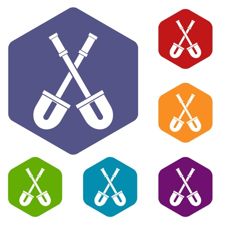 Shovels icons set rhombus in different colors isolated on white background